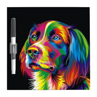 Colorful golden retriever dry erase whiteboard