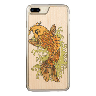 Colorful Goldfish Koi Carved iPhone 7 Plus Case