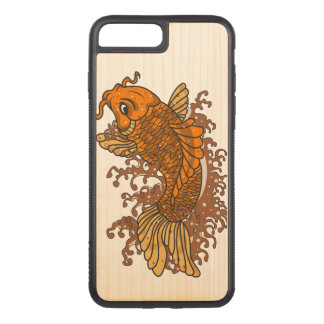 Colorful Goldfish Koi Carved iPhone 8 Plus/7 Plus Case