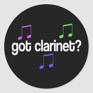 Colorful Got Clarinet Music Gift Classic Round Sticker