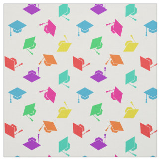 Colorful Graduation Cap Pattern Fabric