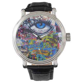 Colorful graffiti street art wristwatches