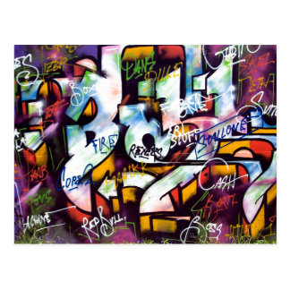 Colorful Graffiti Words Postcard