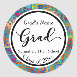 Colorful Grafitti Modern Graduation Celebration 2 Classic Round Sticker