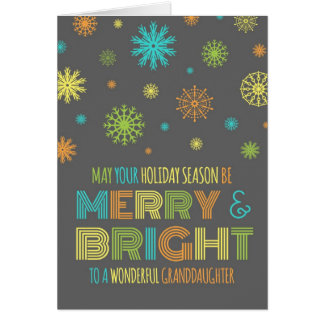 Colorful Granddaughter Merry & Bright Card