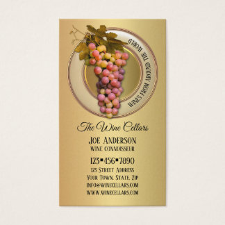 Colorful Grapes on Gold Wine Themed Business Card