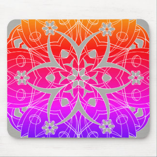 Colorful Graphic Flowers Circle 2 - Mouse Pad
