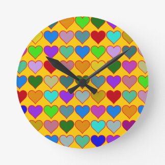 colorful graphic hearts girly pattern round clock