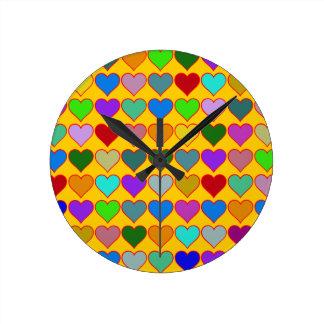 colorful graphic hearts girly pattern wallclock