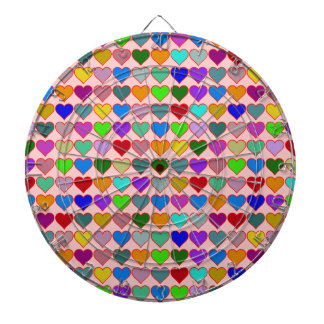 colorful graphic hearts pattern dartboard with darts