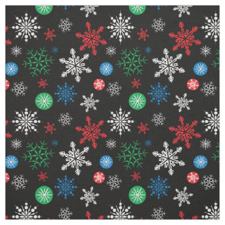 Colorful Graphic Snowflakes on Black Fabric