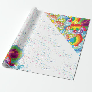 Colorful Graphic Waves and Bubbles Wrapping Paper