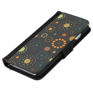 Colorful & Gray Stars & Circles Modern Pattern iPhone 6 Wallet Case