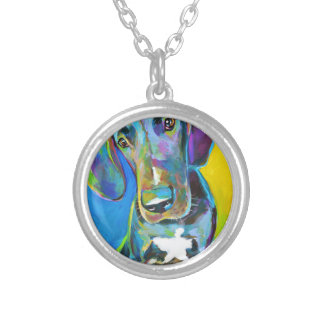 Colorful GREAT DANE Silver Plated Necklace