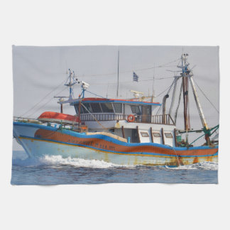 Colorful Greek Fishing Boat Kitchen Towel