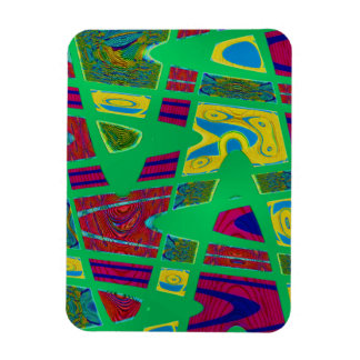 colorful green abstract rectangular photo magnet