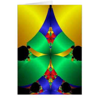 Colorful Green Blue Yellow Fractal Art Design Card
