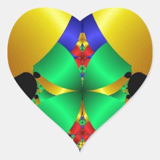 Colorful Green Blue Yellow Fractal Art Design Heart Sticker