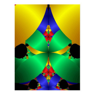 Colorful Green Blue Yellow Fractal Art Design Post Card