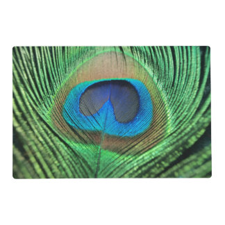 Colorful Green Peacock Laminated Placemat