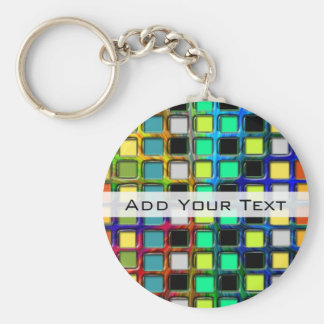 Colorful Grid-Tiled by Shirley Taylor Keychain