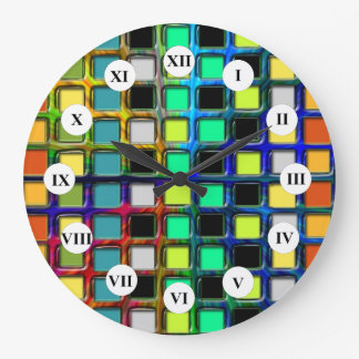 Colorful Grid-Tiled by Shirley Taylor Large Clock
