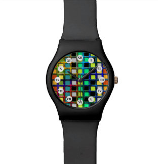 Colorful Grid-Tiled by Shirley Taylor Wrist Watch