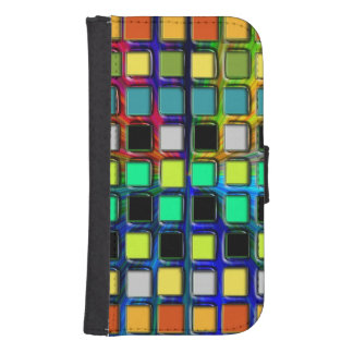 Colorful Grid-Tiled Samsung S4 Wallet Case