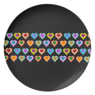 Colorful groovy heart pattern black plate