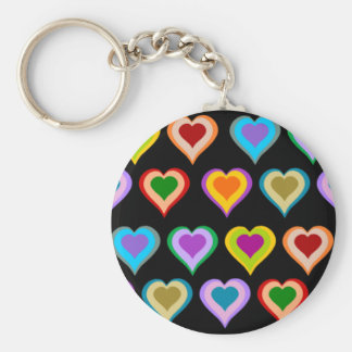 Colorful groovy heart pattern keychain