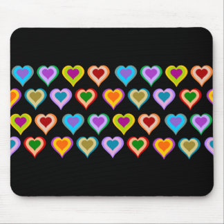 Colorful groovy heart pattern mousepad