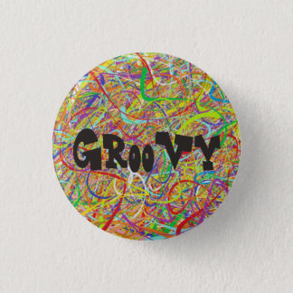 Colorful Groovy Hippie 1 Inch Round Button