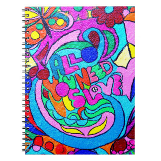 colorful groovy peace and love notebook