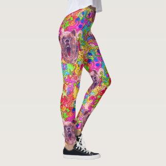 Colorful Growling Bear Leggings