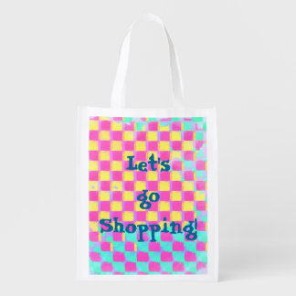 Colorful Grunge Checkerboard Pattern with Text Reusable Grocery Bag