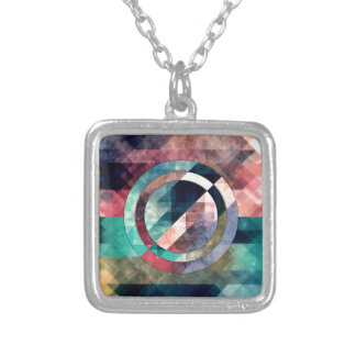 Colorful Grunge Geometric Abstract Silver Plated Necklace