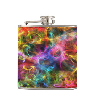 Colorful Grunge Random Swirls Hip Flask