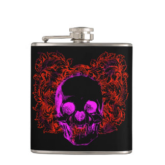 Colorful grunge style skull with floral background hip flask