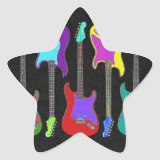 Colorful Guitars Star Sticker