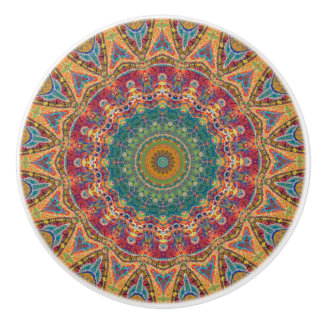 Colorful Gypsy Boho Chic Mandala Ceramic Knob