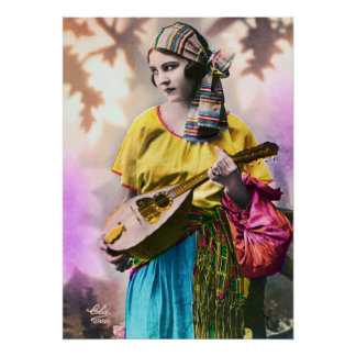 """Colorful Gypsy Girl 20"""" x 28"""" Poster"""