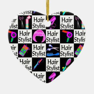 COLORFUL HAIR STYLIST CHRISTMAS ORNAMENT