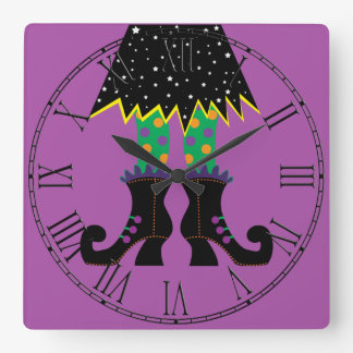 Colorful Halloween Funny Witch Feet Square Wall Clock