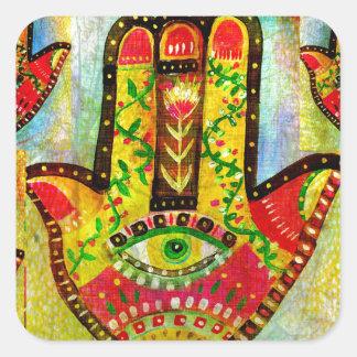 Colorful Hamsa Hand Art Square Sticker