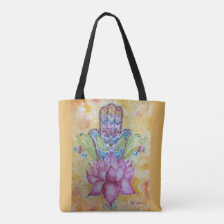 Colorful Hamsa Watercolor Art Tote