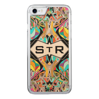 Colorful Hand Drawn Abstract I Monogram Initials Carved iPhone 8/7 Case