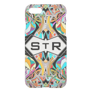 Colorful Hand Drawn Abstract I Monogram Initials iPhone 8/7 Case