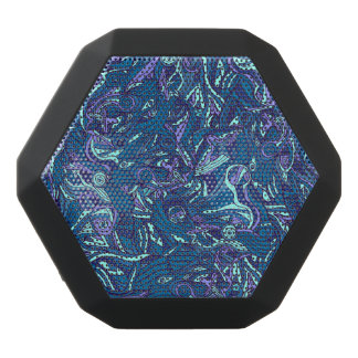 Colorful hand drawn abstract pattern design black bluetooth speaker
