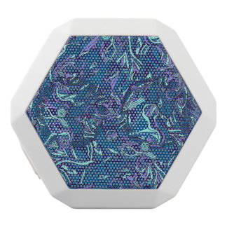 Colorful hand drawn abstract pattern design white bluetooth speaker