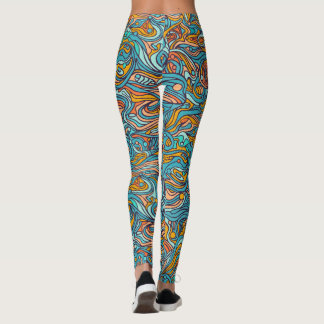 Colorful hand drawn abstract pattern leggings